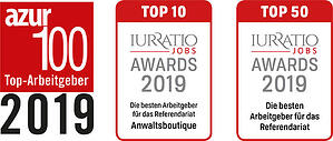 Logos Azur Award 100 Top Arbeitgeber 2019 / Iurratio Jobs Awards 2019 top 10 /  Iurratio Jobs Awards 2019 top 500